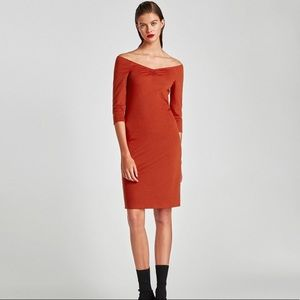 Zara Rust Color Fitted Off The Shoulder Dress